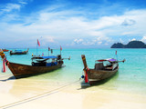fishing boats in turquoise water poster