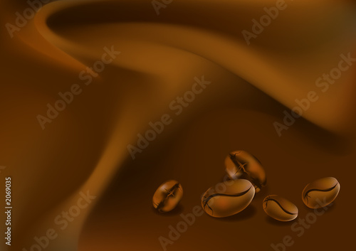 coffee beans on chocolate silk tissue background