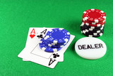 poker - a pair of aces with poker chips 5 poster