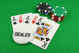 full house with a dealer chip on top poster