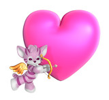 cupid kitty with heart poster