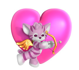 cupid kitty with heart