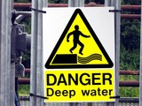 sign. no entry because of the danger of deep water poster