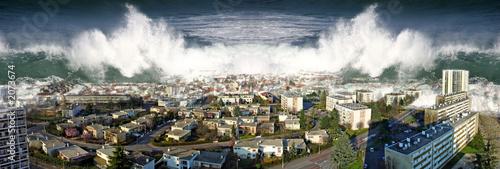 canvas print picture raz de marée sur la ville