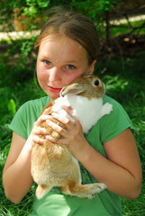 gril with bunny