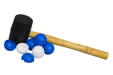 hammer and toy balls