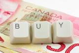 canadian dollar. concept of online shopping poster