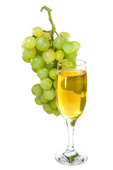 white wine glass on  background of a grape
