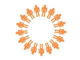 logotype orange 3d team of people poster