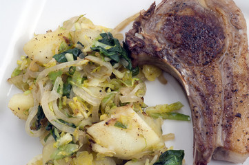 lamb chop and veg
