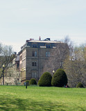 view of stately old building from public gardens poster