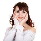 portrait of surprised girl on white background poster