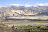 himalayas view with buddhistic monuments poster