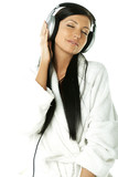 beauty with headphones poster