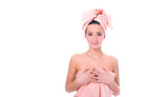 spa young pretty girl in towel after shower poster