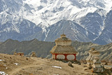 buddhistic stupa (monument) in the himalayas poster