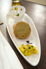 crab stuffed patties with mango compote