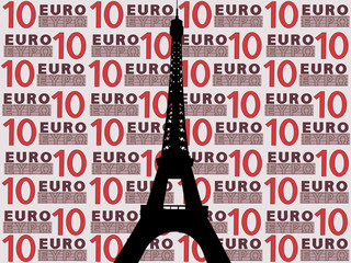 eiffel tower against ten euro note