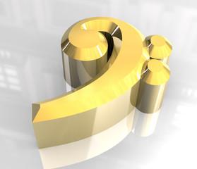 simbolo chiave di basso in oro