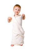 beauty baby in towel after shower poster