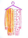 colorful scarfs on clothes rack poster