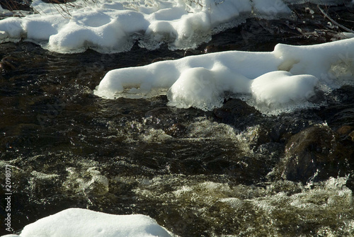 ice and snow covered rocks in a stream