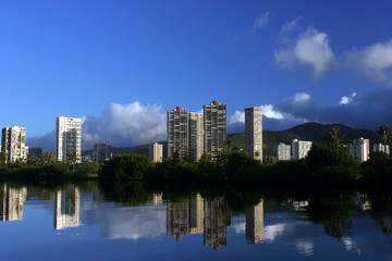 blue sky, blue river