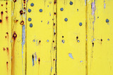 weathered yellow-painted wall poster