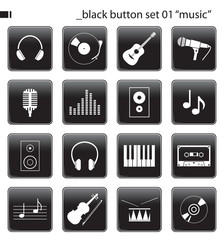 "black button set 01 ""music"""