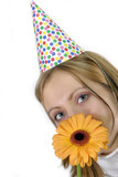 woman with birthday and flower poster