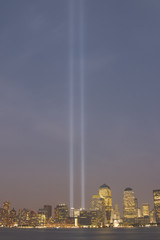 september 11th memorial at dusk
