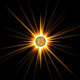 solar star isolated on black poster