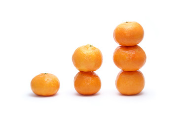 white sweet tangerines isolated on white