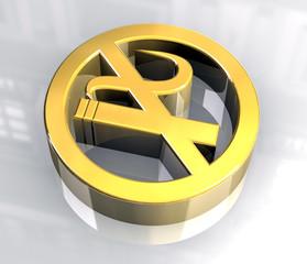 simbolo vietato fumare in oro - no smoke symbol 2