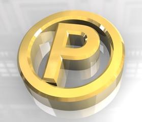 simbolo parcheggio in oro - parking symbol