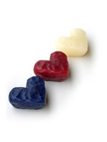 three wax hearts, diagonal