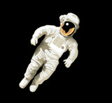 astronaut on black bg poster