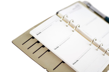 diary page in personal organiser
