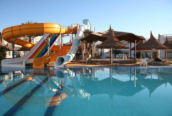 aquapark constructions and parasols