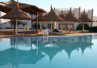 pool and parasols on resort