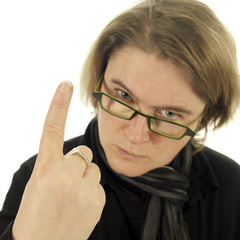 woman (teacher) looking very angry