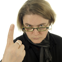 woman looking very angry and pointing with her finger