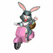 easter bunny scooter - isolated