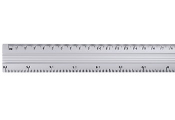 metal ruler on a white background.