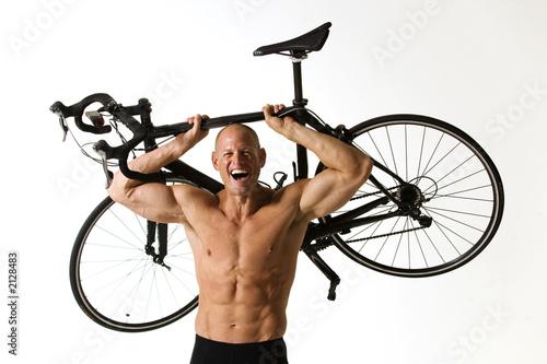 Leinwandbild Motiv man with bike