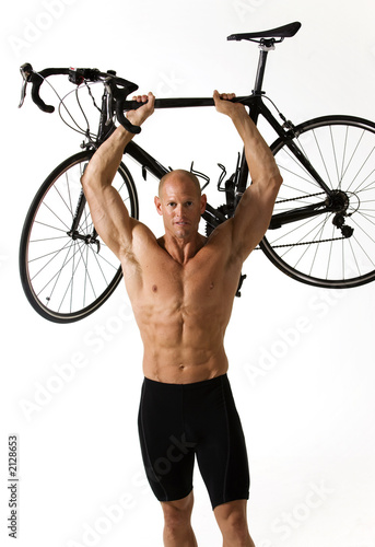 Leinwandbild Motiv man with bike ii