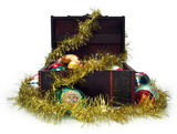 treasure chest full of christmas decorations poster