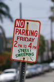 no parking street sweeping sign poster