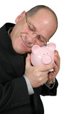 business man hugging piggy bank poster