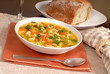 bowl of chicken noodle soup with rustic bread